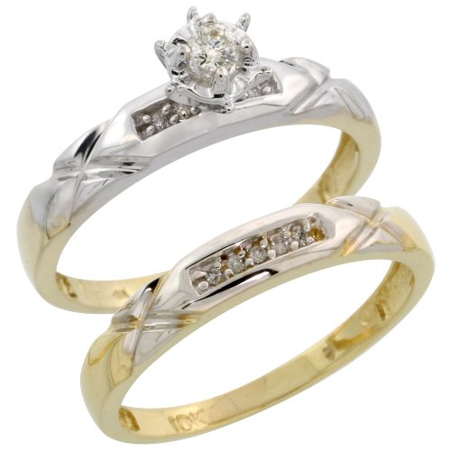 10k Gold 2-Piece Diamond Engagement Ring Set, w/ 0.12 Carat Brilliant Cut Diamonds, 1/8 in. (3.5mm) wide, Size 8.5