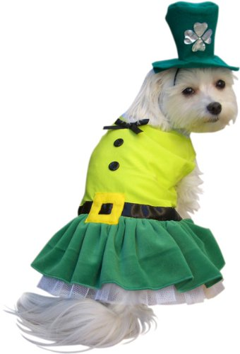 Pet Girl Leprechaun Dog Halloween Costume (Medium)
