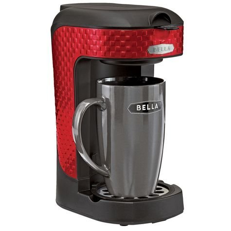 Bella One Scoop One Cup Single Serve Coffee Maker with Mug - Red 3D Square