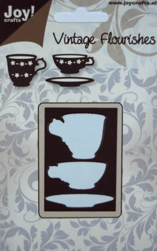 Joy! Crafts Die, Vintage, Tea And Coffee Cup/Saucer