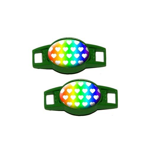 Sweet Heart Pattern Rainbow White - Shoe Sneaker Shoelace Charm Decoration - Set Of 2 - Green