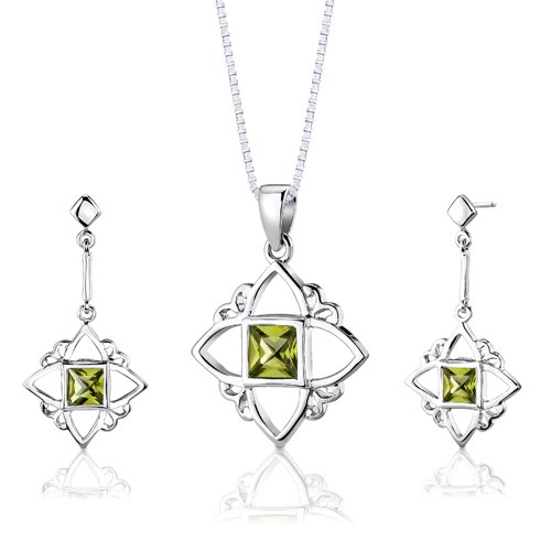Revoni Sterling Silver 2.25 carats total weight Princess Cut Peridot Pendant Earrings and 46 CM Length Silver Necklace Set