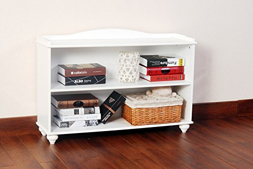3-Tier Wood Bookcase Bookshelf, White Finish White 3 Shelf Bookcase