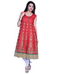 Sareeshut Peach Readymade Embroidered Printed Kurti