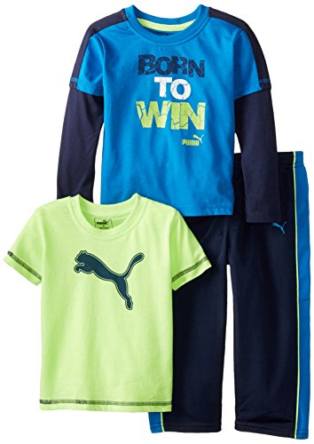 PUMA Little Boys' Toddler 3 Piece Long and Short Sleeve Tee, Pant Set, Blue, 3T