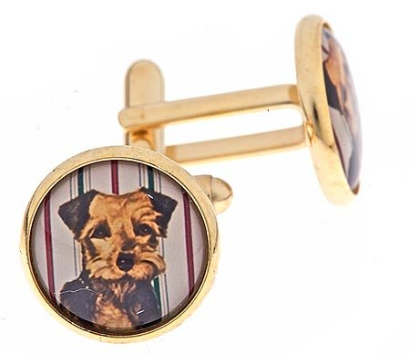 JJ Weston gold plated cufflinks with an image of a scottie dog with presentation box. Made in the U.S.A