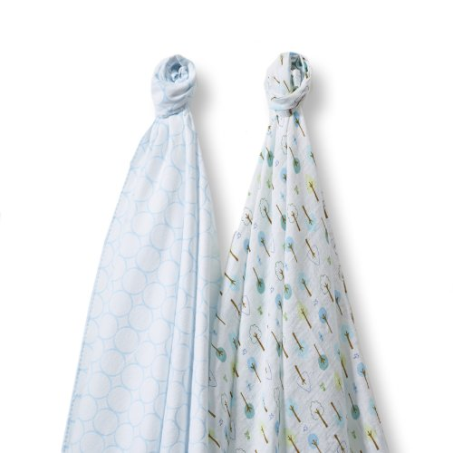 SwaddleDesigns SwaddleDuo, Cute & Calm Duo (Set of 2 in Pastel Blue)
