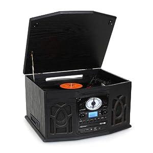 Auna NR-620 - Chaîne hifi stéréo avec platine vinyle vintage - Platine vinyle, lecteur cassette, CD et MP3 USB - Bois noir vintage