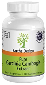 Earths Design Pure Garcinia Cambogia Extract, 750 mg, 120 Capsules