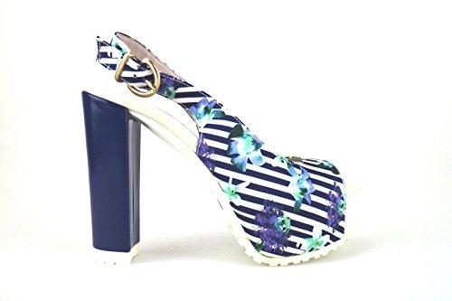 LORENZO MARI sandali blu / bianco multicolore tessuto (36 EU, Blu / bianco)