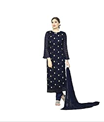 A R Fashion Hub Women's Georgette Unstitched Dress Material(2258_Blue_FreeSize)