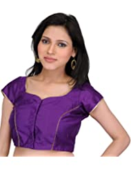 Exotic India Plain Royal-Purple Choli With Golden Piping - Purple