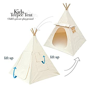 Lavievert Children Playhouse Indian Canvas Teepee Kids Play House with Two Windows - Comes with A Canvas Carry Bag