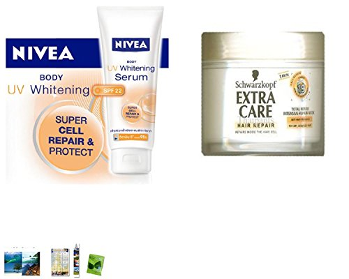 Special Set :Nivea Body Uv Whitening Serum Lotion Spf 22 Super Cell Repair & Protect 200 Ml Made In Thailand Plus Schwarzkopf Extra Care Hair Total Repair 19 Mask