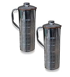 AsiaCraft Stainless Steel Copper Bottle Jug with Lid, Set of 2
