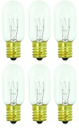Pack of 6 25T8 25W Incandescent Salt Lamp & Appliance T8 Bulb with Candelabra Base, Clear Light Bulb (25w Appliance Bulb compare prices)