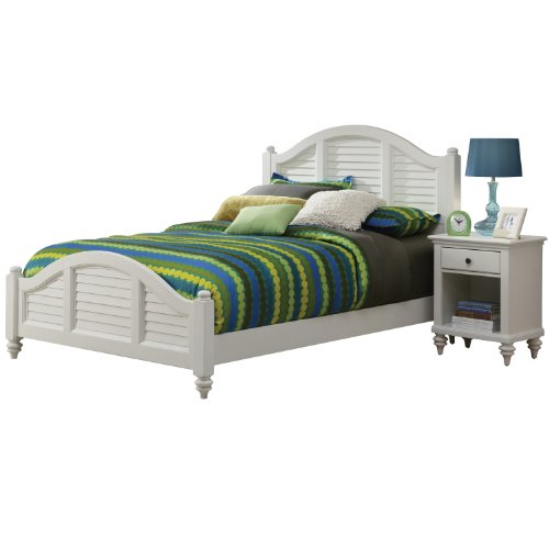 Home Styles 5543-6017 Bermuda Brushed Bed Frame And Night Stand, King, White front-15289
