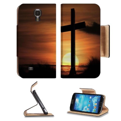 Cross Of Christian In Sunset Samsung Galaxy S4 Flip Cover Case With Card Holder Customized Made To Order Support Ready Premium Deluxe Pu Leather 5 1/2 Inch (140Mm) X 3 1/4 Inch (80Mm) X 9/16 Inch (14Mm) Msd S Iv S 4 Professional Cases Accessories Open Cam