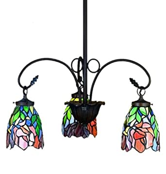 iris tiffany stained glass chandelier lighting fixture. Black Bedroom Furniture Sets. Home Design Ideas