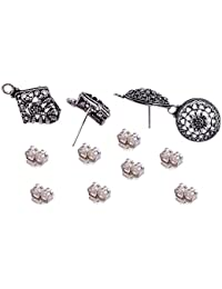 Saamarth Impex 2 Pcs Round And 2 Pcs Kite Shape Stud Earrings With 8 Push Jewelry Accessories SIJ 19903