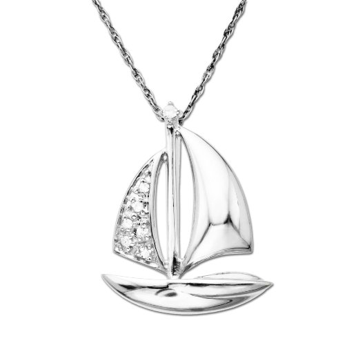 10k White Gold Mini Sailboat and Diamond Pendant Necklace (.03cttw, I-J Color, I2-I3 Clarity), 18