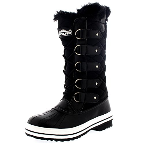 Womens Snow Boot Nylon Tall Winter Fur Lined Snow Warm Waterproof Rain Boot - Black - 7 - 38 -...