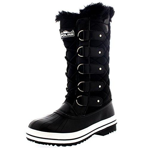 damen-schnee-stiefel-nylon-tall-wasserdicht-gefuttert-regen-stiefel-schwarz-41-cd0025