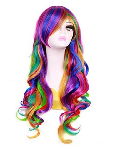 Luckygirls Women's 27'' Long Rainbow Big Wavy Spring Bouquet Cosplay Party Wig Harajuku Style Lolita Spiral Colorful Hair (Color Wig)