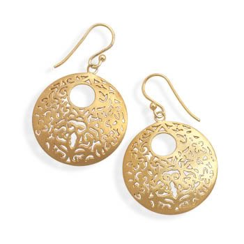 Brushed 14 Karat Gold Plated Earrings