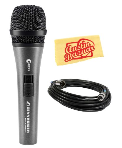 Sennheiser E835-S Handheld Dynamic Cardioid Microphone With On/Off Switch Bundle With Mic Cable, And Polishing Cloth