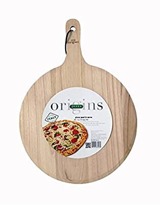 Italian Origins Round Pizza Peel, Wood, 13 by 21-Inch