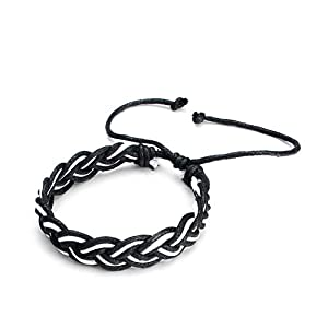Pugster Decorative Black White Leather Bracelet Bracelets