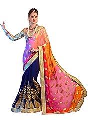 AASVAA Multicolor Shad Viscose Fabric Fancy Saree