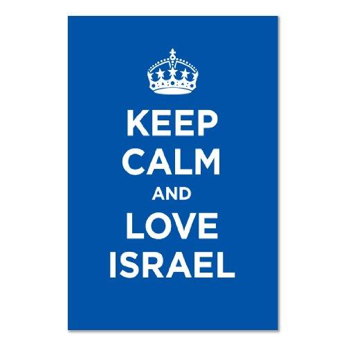 art-print-poster-motivo-scritta-keep-calm-love-israele-colore-blu-navy-motivo-capitano-della-seconda