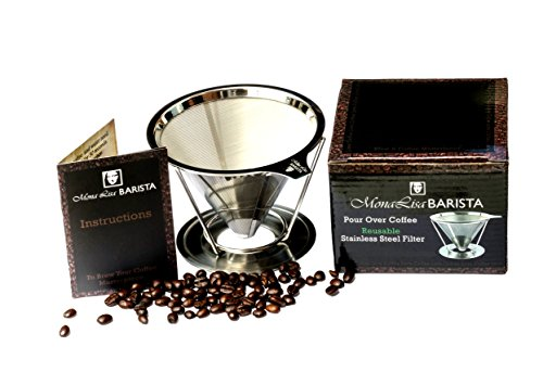 Mona Lisa Barista Pour-Over Coffee Dripper - The Reusable Stainless Steel Coffee Filter Cone and Stand (1-2 Cup Coffee Maker) (16oz Coffee Cups 100 compare prices)