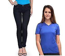 Oleva Women combo set of 2 (denim Black jeans and Blue T-Shirt ) ONC-03_32