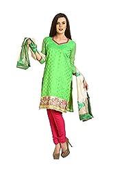 Parchayee Women's Green::Pink Printed Art Silk Dress Material