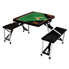 MLB San Francisco Giants Baseball Field Design Portable Folding Table and Seats,... by Picnic Time