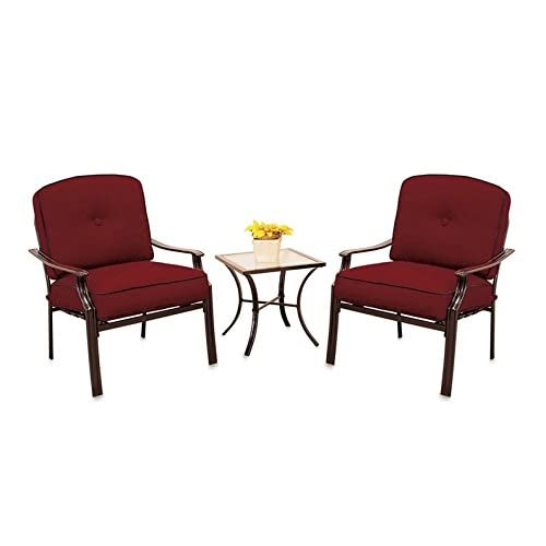 Modern 3 Piece Deep Seating Chair Set Outdoor Patio Furniture Red