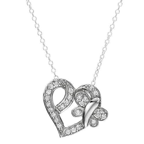 Sterling Silver 0.8 CTW Cubic Zirconia Heart Ladies Necklace. Length 18 in. Total Item weight 3.4 g.