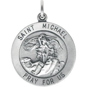 Antiqued St. Michael Sterling Silver Medal
