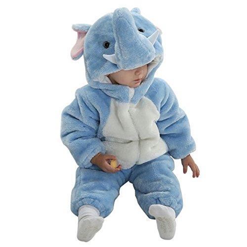 [Baby Warm Elephant Zipper Onesie Outfit Bodysuit Hoodie Snowsuit Cosplay Halloween Costume 18-24M] (Elephant Bunting Costumes)