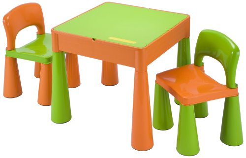 Liberty House Children's Multi-Purpose Table with 2 Chairs (Green/ Orange)
