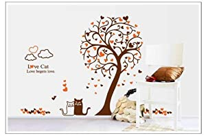 OneHouse Love Cats Love Tree Orange and Brown Color Art Decor for Sitting Room or kids' Room Decoration from OneHouse