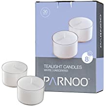 Set Of 36 White Tealight Candles With Clear Cup Burn 8 Hour, Unscented , In A Box By Light In The Dark