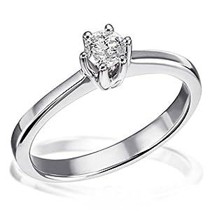 Goldmaid Damen-Ring Solitär 6er-Stotzen 585 Weißgold 1 Brillant 0,25 ct. Gr. 54 So R3989WG54