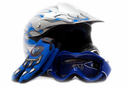 Youth Motocross ATV Dirt Bike MX Helmet, Gloves and Goggles Blue Flame, Medium