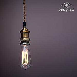 Vintage Light Bulb Pendant Kit | Lamp Holder, Ceiling Rose, Bronze Cord & Free ST64