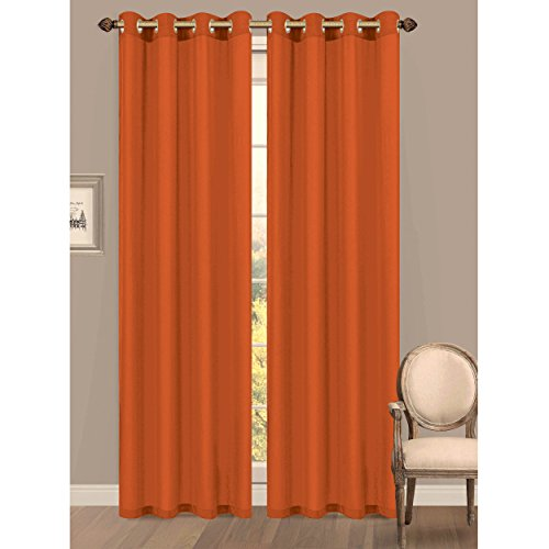 Window Elements Primavera Crushed Microfiber Extra Wide 60 In. Grommet Curtain Panel, Orange front-163302