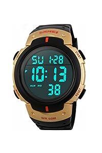 Wrist Watch - SKMEI Waterproof LED Light Digital Date Alarm Wrist Watch Men's Women Sport Gift Gold